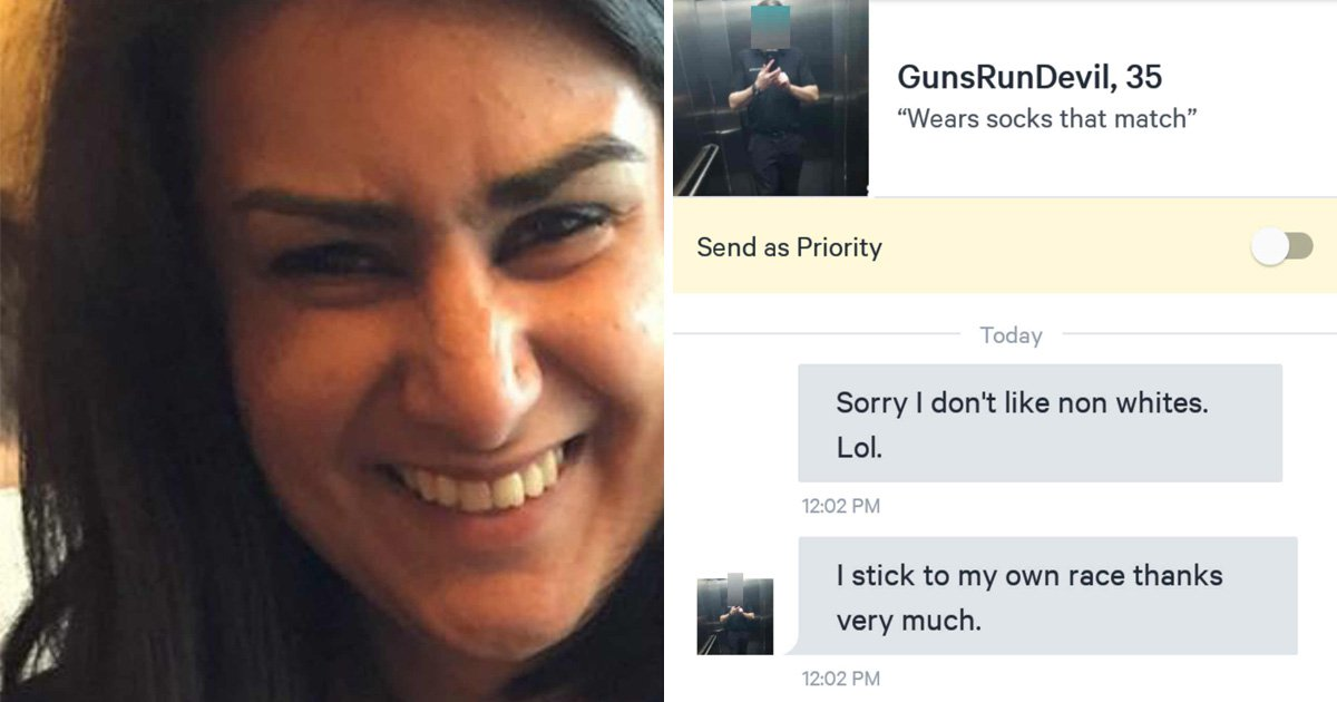 Woman calls police after racist on dating site says 'I stick to my own race'
