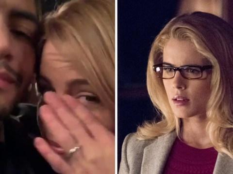 Arrow's Emily Bett Rickards weeps on set as she says goodbye to Felicity Smoak
