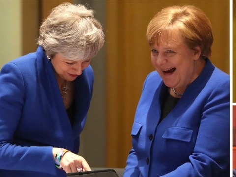 EU leaders laugh at Theresa May and Angela Merkel's matching jackets