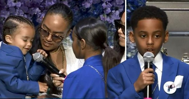 Lauren London's son Cameron delivers speech at Nipsey Hussle