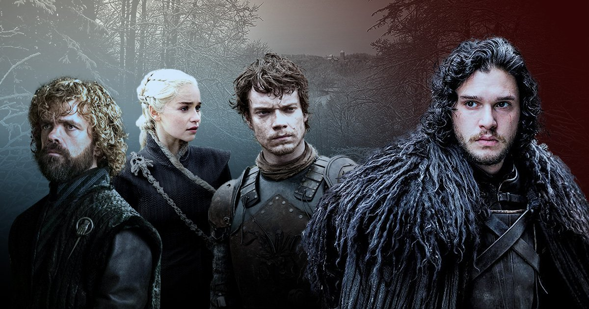 Tyrion Lannister, Daenerys Targaryen, Theon Greyjoy and Jon Snow in front of a wintry forest.