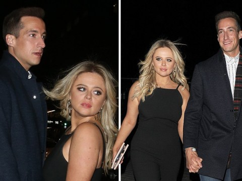 Emily Atack is the cat that got the cream as she walks hand-in-hand with new boyfriend