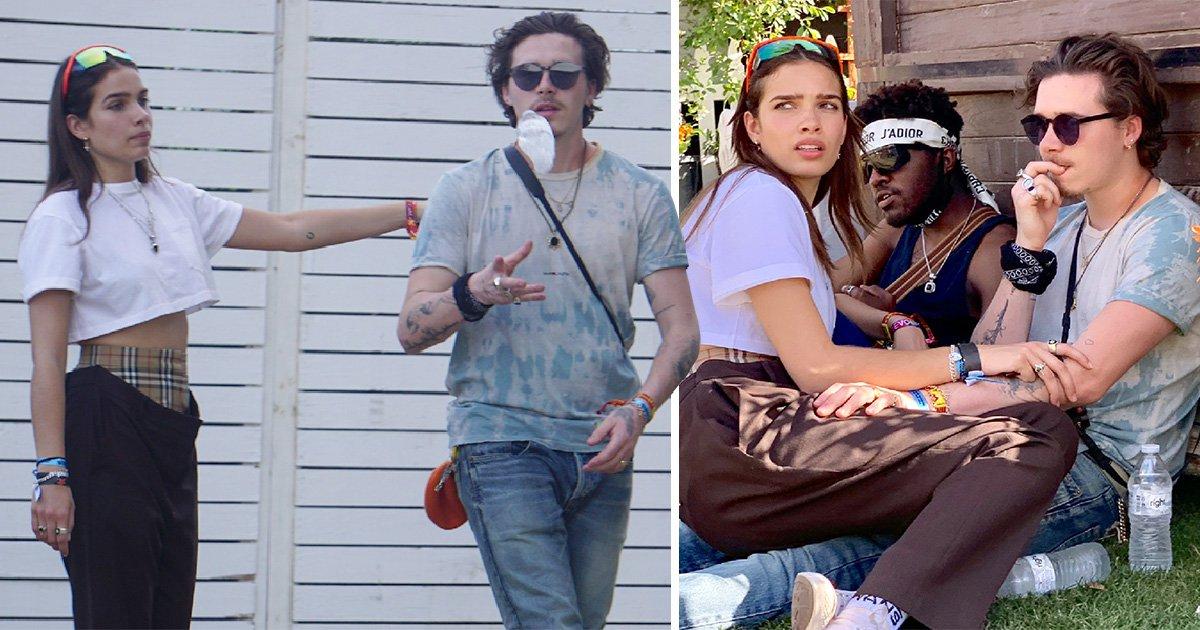 Hana Cross sits on boyfriend Brooklyn Beckham's knee during Coachella backstage chill session