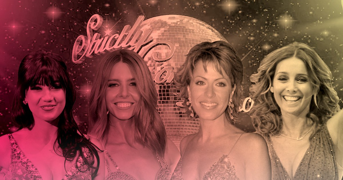 Daisey Lowe, Stacey Dooley, Natasha Kaplinsky and Louise Redknapp in front of the Strictly Come Dancing logo
