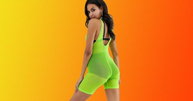 Asos is selling a neon green mesh unitard