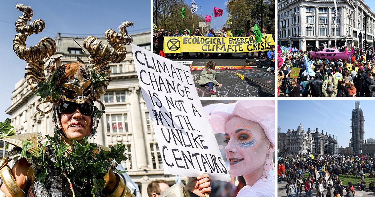 Thousands of climate change protesters descend on London to 'shut down capital'