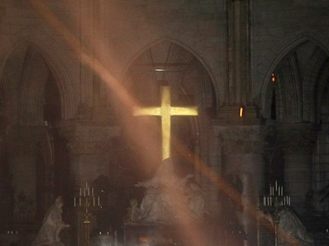Inside Notre Dame as fire raged through cathedral roof