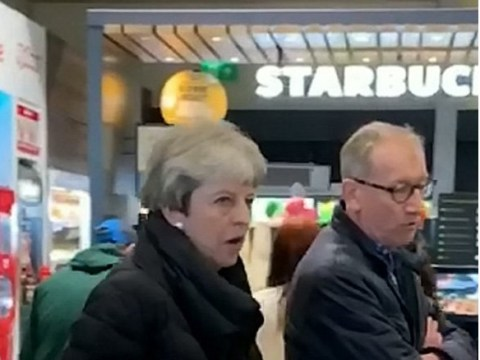 Theresa May stops for loo break at M54 services