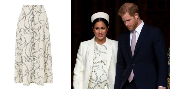 Duchess of Sussex Meghan Markle wears a Victoria Beckham chain print dress