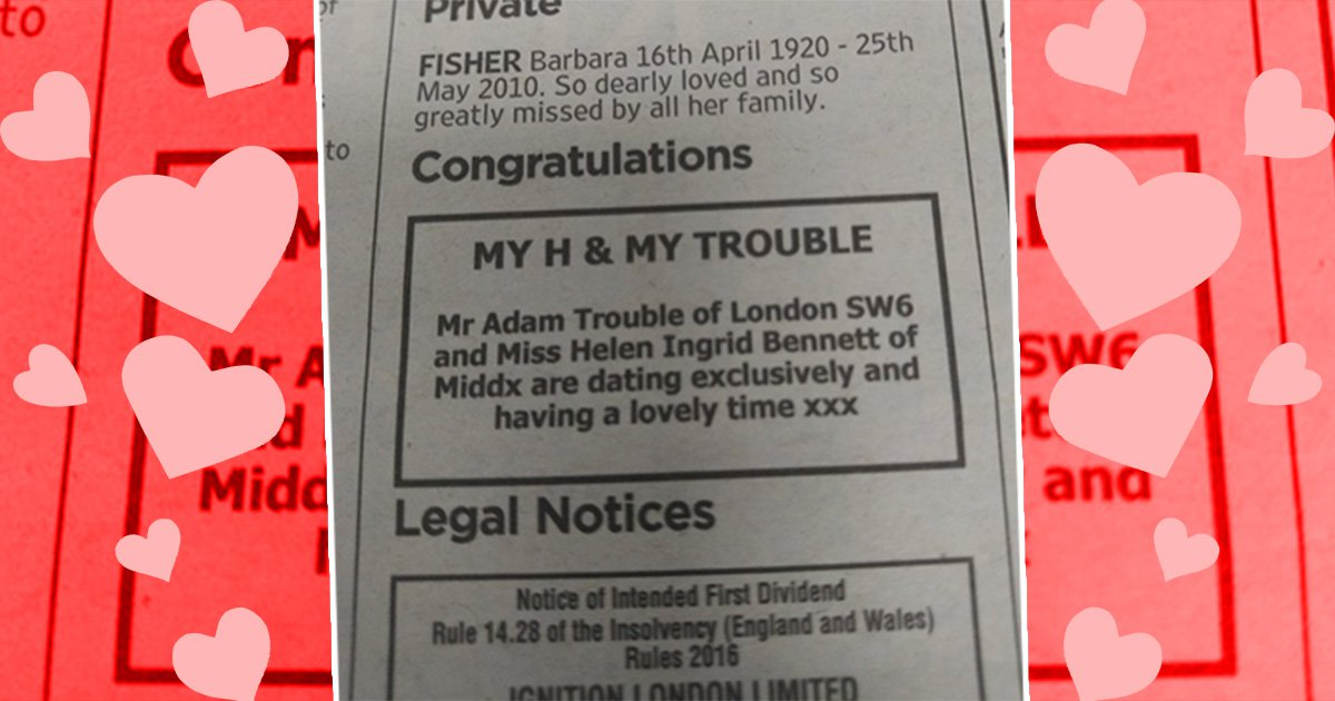 Someone has placed an ad in The Times to announce they are exclusively dating