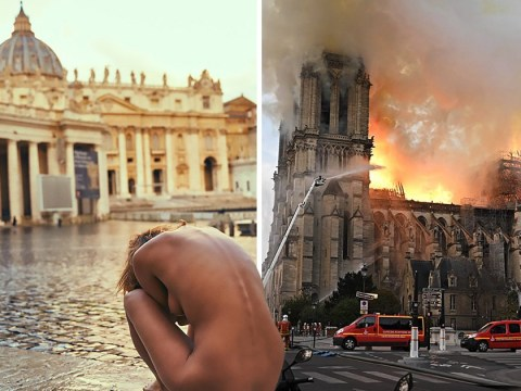 Playboy model who posed nude at Vatican 'celebrates' Notre Dame fire