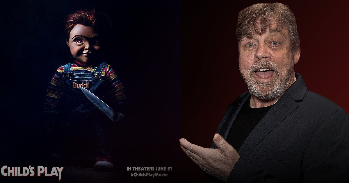 Mark Hamill alongside a picture of the new look Chucky