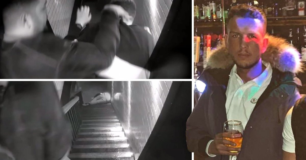 Moment teenager breaks his back after being thrown down stairs