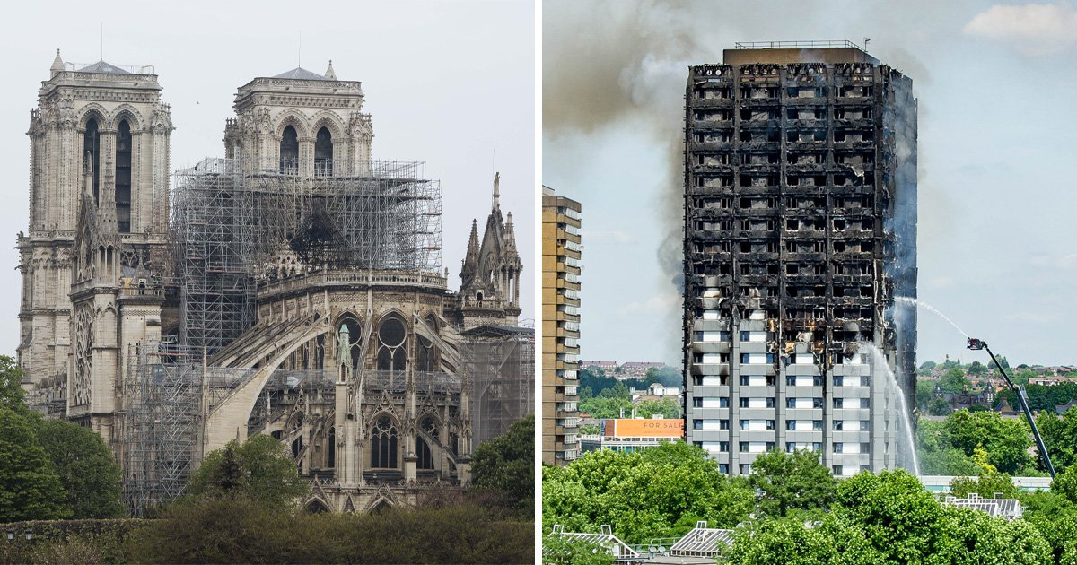 An image of Notre Dame cathedral in Paris alongside a photo of the fire-destroyed Grenfell Tower in London