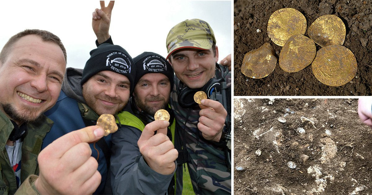 Amateur treasure hunters stumble across £150,000 hoard of 14th century gold coins