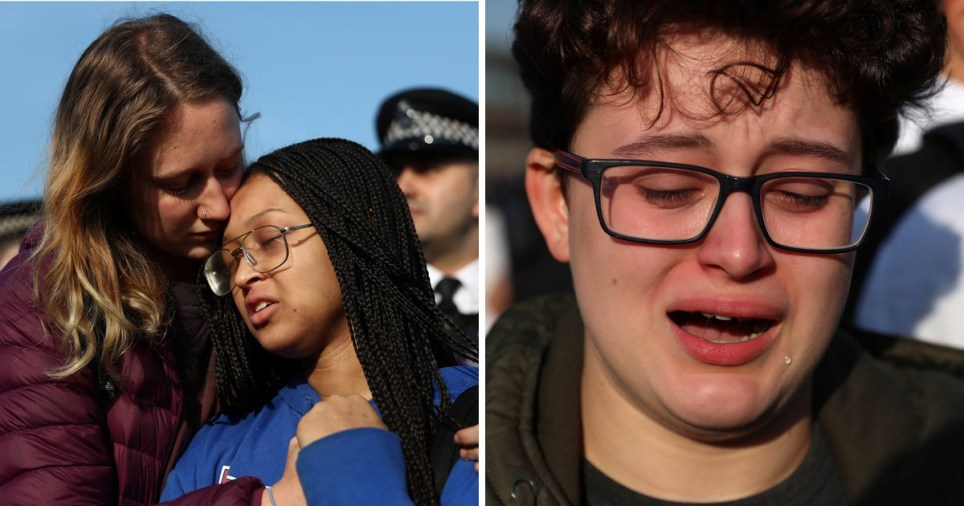 Children cry outside Heathrow after 'being threatened with arrest'