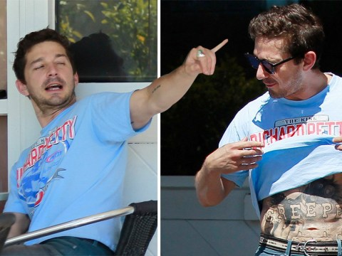 Shia LaBeouf proudly shows off new 'Creeper' stomach tattoo