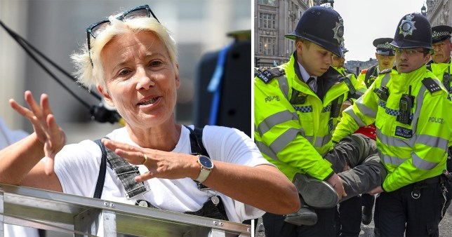 Actress Emma Thompson has accused Met Police of wasting resources by locking up climate change protesters (Picture: AP/EPA)