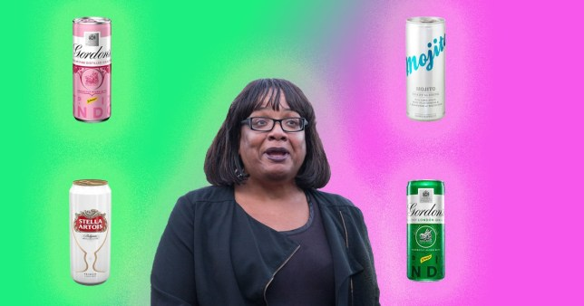 MP Diane Abbott and lots of tinnies