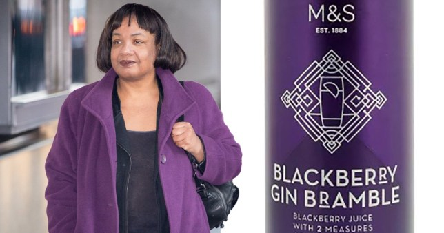 Twitter has reacted to Diane Abbott's train drinking (Picture: Rex/M&S)