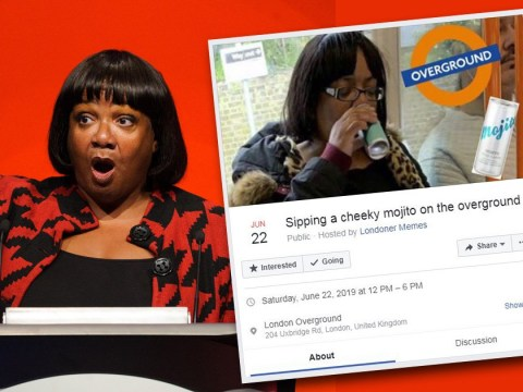 Thousands to down a 'cheeky mojito' on Tube in honour of Diane Abbott