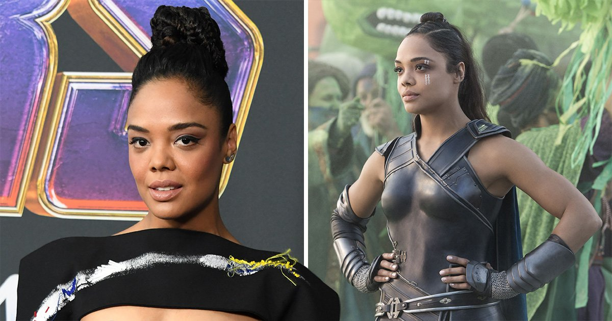 Tessa Thompson as her Marvel character Valkyrie and at Avengers: Endgame premiere in Los Angeles