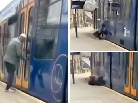 Nail-biting moment drunk man is almost run over by tram he tried to board
