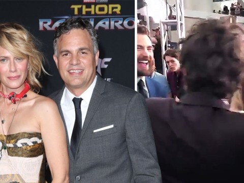 Mark Ruffalo shows Hulk side as he pulls his wife away from Chris Evans at Avengers: Endgame premiere