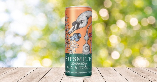 A Sipsmith canned G&T on a table in summer