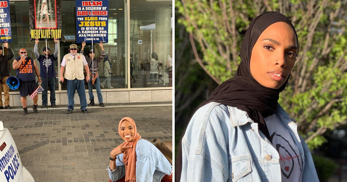 Muslim woman poses like a badass in front of anti-Islam protesters