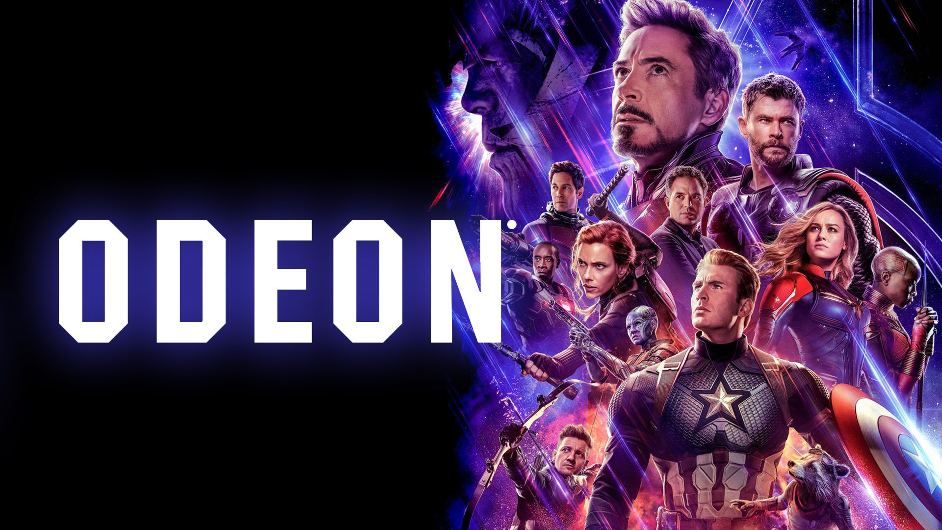 Odeon cinema logo and Avengers Endgame movie poster featuring Iron Man, Thor, Captain America and other Avengers characters
