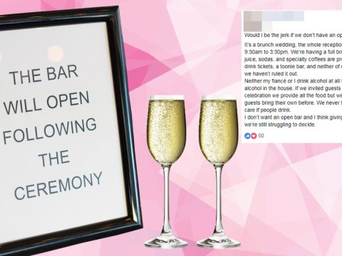 Bride-to-be asks wedding community if it's rude to skip the open bar