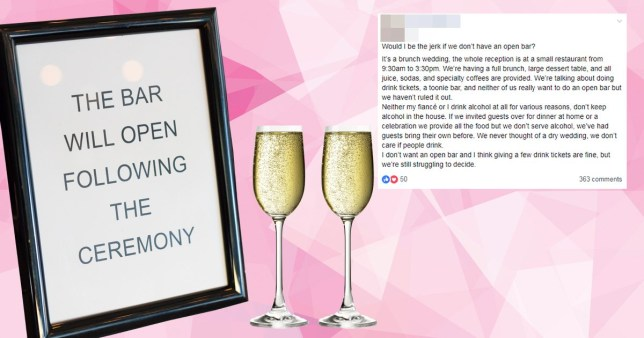Compilation of champagne glasses, a sign that says 'the bar will open following the ceremony and a Facebook post from a bride concerned about having an open bar at her wedding