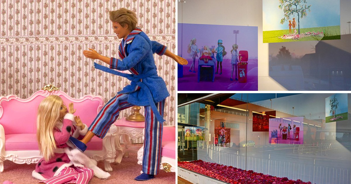 Art exhibit showing Barbie being beaten by Ken moved out of children's view