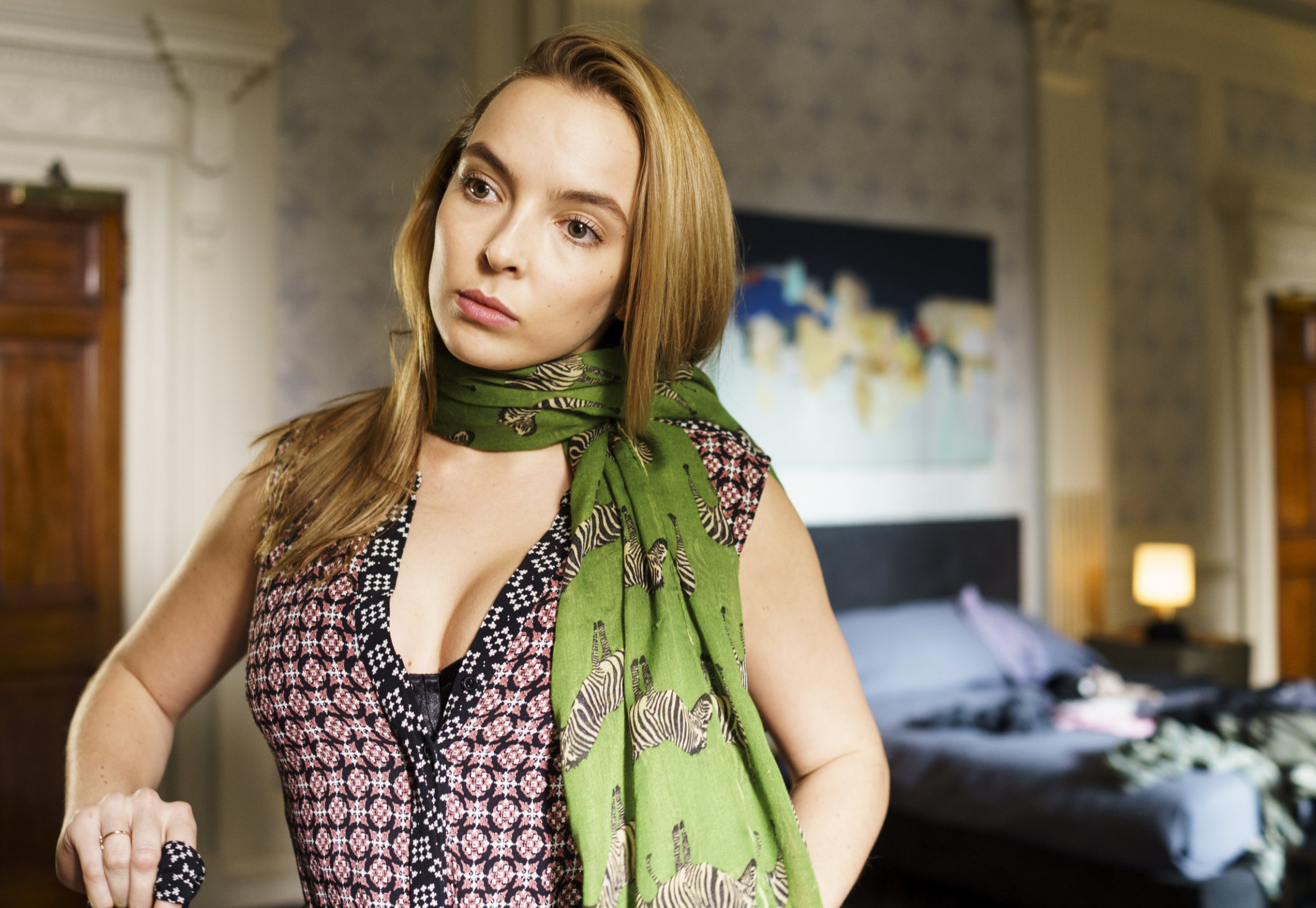 UK. Jodie Comer in the ?BBC new TV series : Killing Eve (2018). Plot: A security operative hunts for an assassin. Based on the Villanelle novellas by Luke Jennings. Ref: LMK106-J222-18091 Supplied by LMKMEDIA. Editorial Only. Landmark Media is not the copyright owner of these Film or TV stills but provides a service only for recognised Media outlets. pictures@lmkmedia.com
