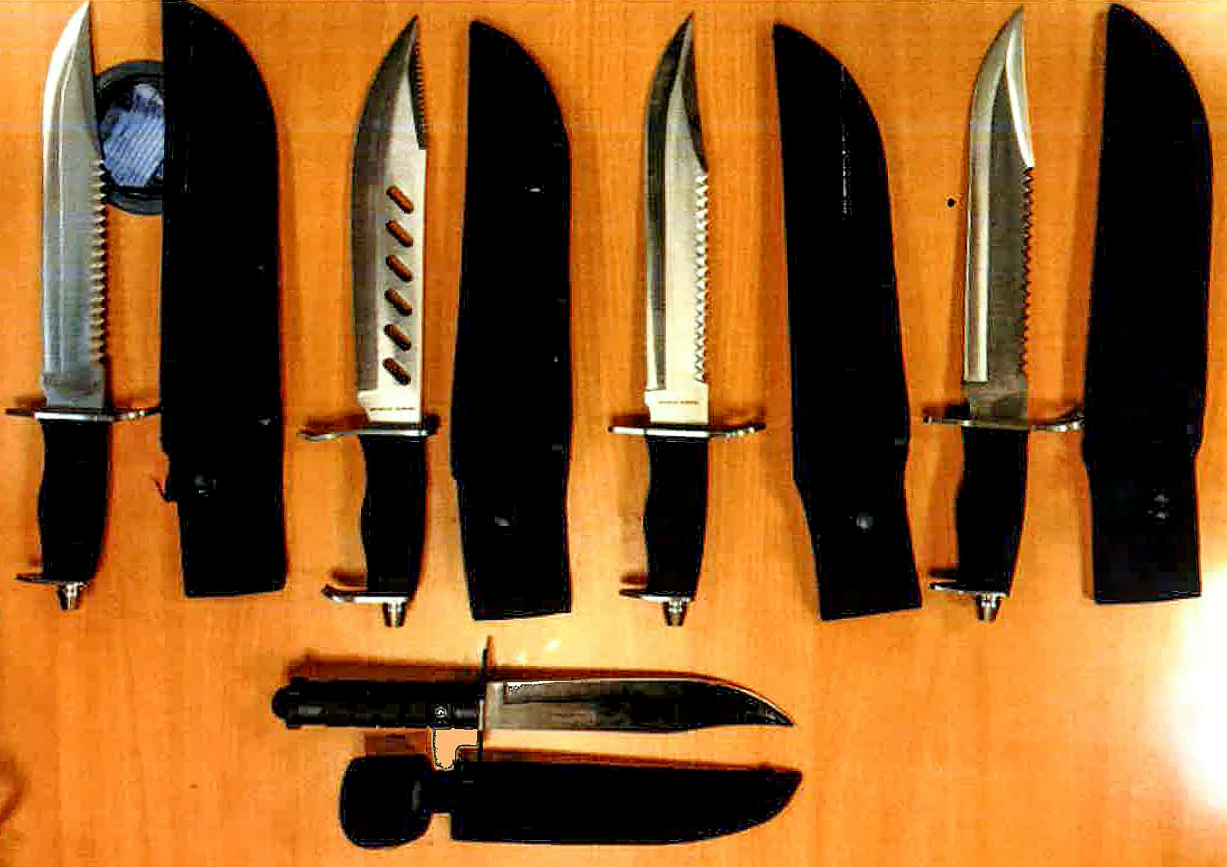 This is the shocking picture that shows the scale of knife crime as police found all five of these deadly combat knives being carried by just one 14 year old boy. See NATIONAL story NNknives. Yet the teen escaped custody, instead being referred to a youth offending panel and being ordered to pay a ?20 victim surcharge. Officers were called to Highbury Quadrant, a low rise estate in Islington north London after a concerned member of the public saw the boy brandishing a knife one Sunday afternoon last month. The boy, who cannot be named for legal reasons, was stopped and searched and police made their shocking discovery. The youth was arrested following the search at 2pm on January 13 and appeared at Highbury Corner youth court on January 29. He pleaded guilty to five counts of possession of an offensive weapon, namely a combat knife.