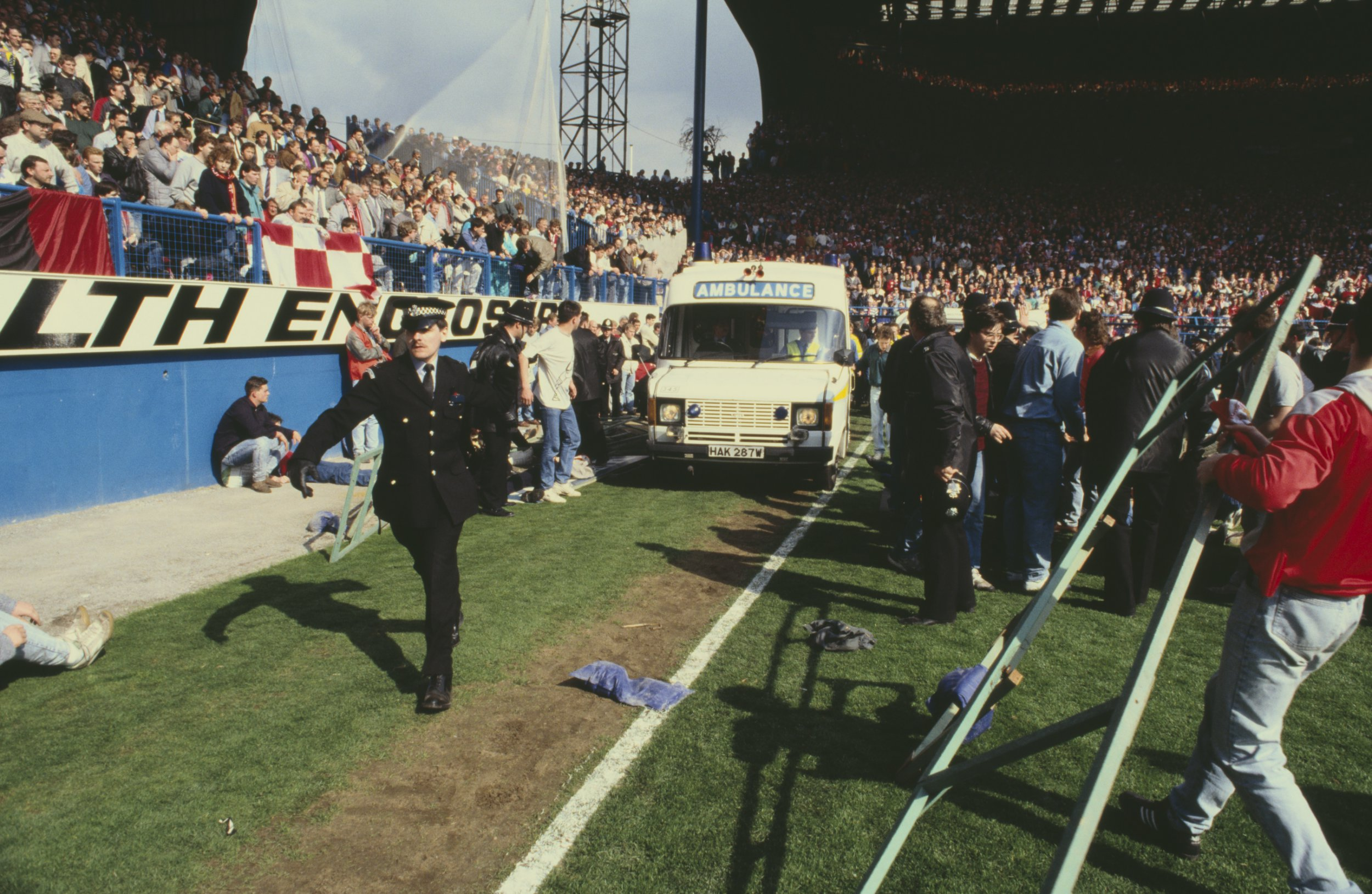 An ambulance at the Hillsborough football stadium in Sheffield where 96 people lost their lives in a human crush accident