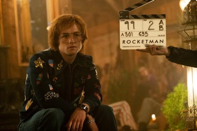 Taron Egerton on the set of Rocketman