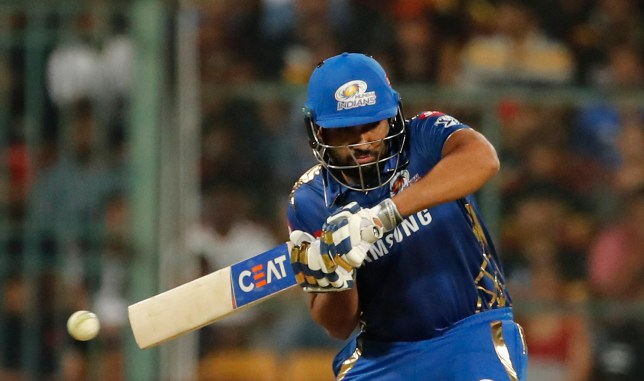 Mumbai Indians captain Rohit Sharma bats during the VIVO IPL T20 cricket match between Royal Challengers Bangalore and Mumbai Indians in Bangalore, India, Thursday, March 28, 2019. (AP Photo/Aijaz Rahi)