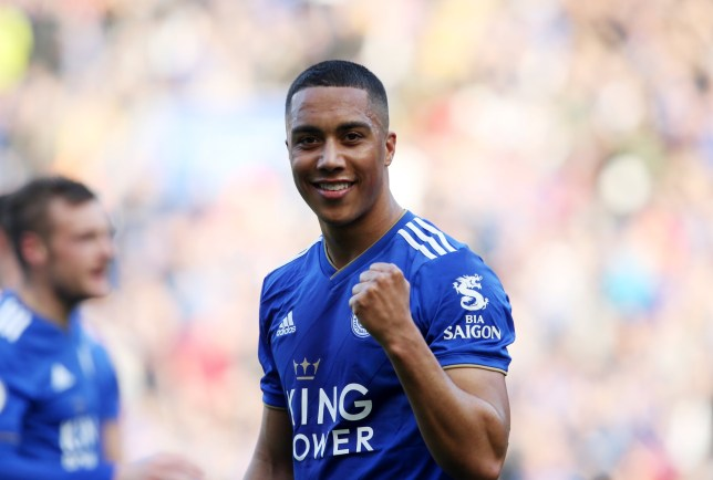 LEICESTER, ENGLAND - MARCH 30: Youri Tielemans of Leicester City celebrates after Jamie Vardy of Leicester City scores to make it 2-0 during the Premier League match between Leicester City and AFC Bournemouth at King Power Stadium on March 30th, 2019 in Leicester, United Kingdom. (Photo by Plumb Images/Leicester City via Getty Images)