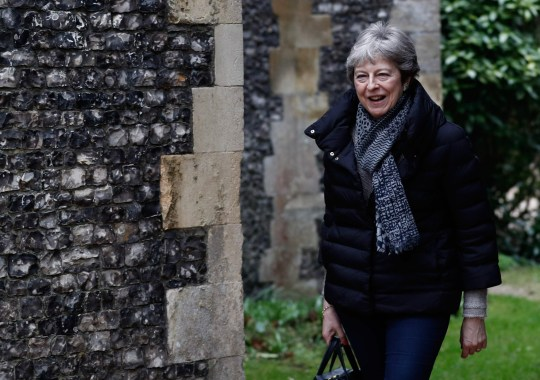 Britain's Prime Minister Theresa May arrives to attend a church service, near her Maidenhead constituency, west of London on March 31, 2019. - British Prime Minister Theresa May on Saturday mulled a possible fourth attempt to get her Brexit agreement through parliament, faced with the growing risk of a chaotic no-deal exit in less than two weeks' time. (Photo by Adrian DENNIS / AFP)ADRIAN DENNIS/AFP/Getty Images