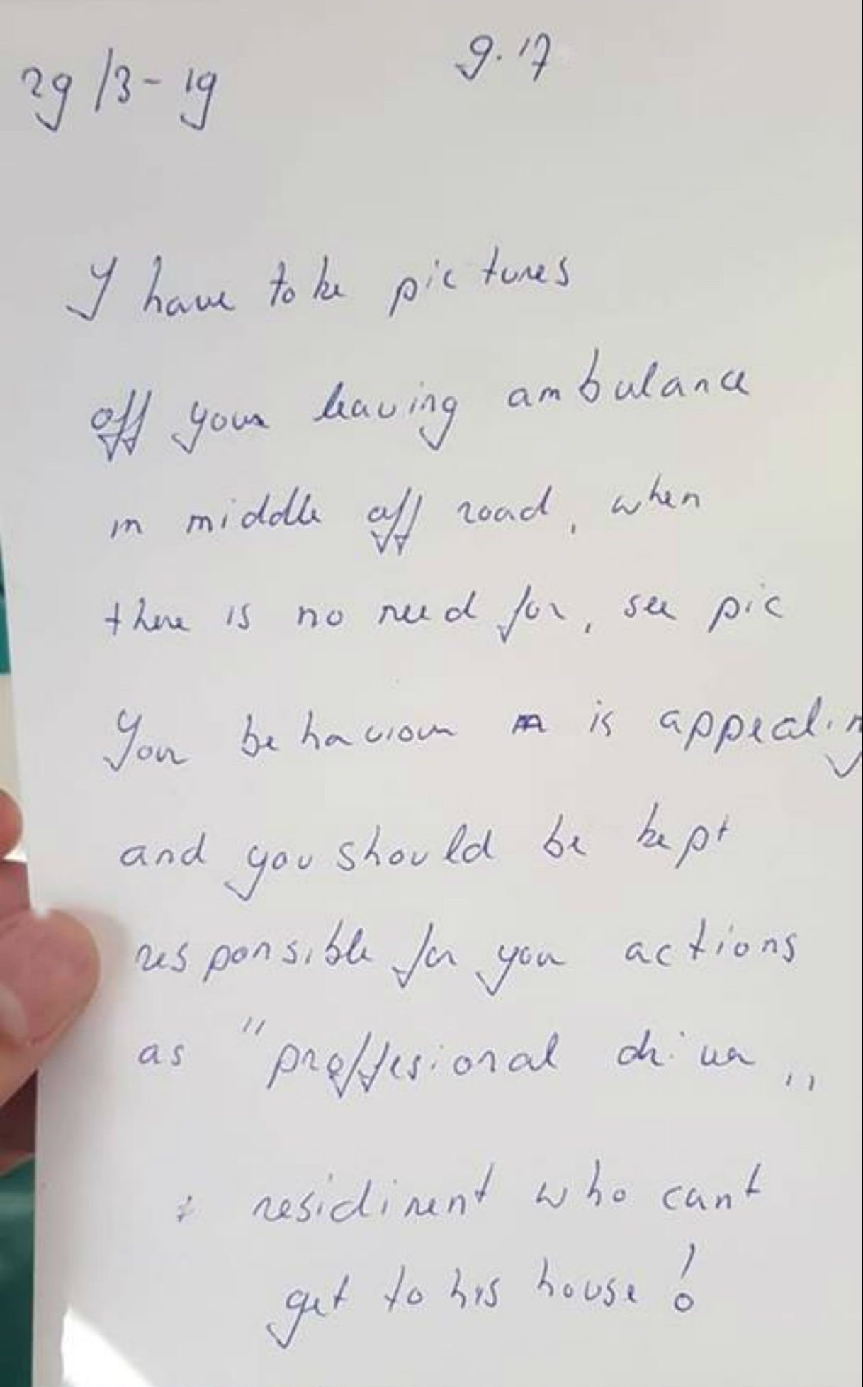The note was left by an angry resident on the ambulance calling the paramedic 'appalling' (Picture: Chris James Nixon/Facebook)