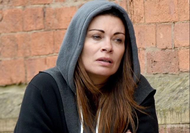 Alison King as Carla Connor wearing a hoody in Coronation Street