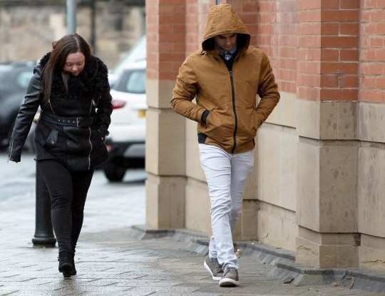 Luke Morgan, 26, and Emma Cole, 22, arriving at Stafford Crown Court today charged with the murder of their two month old baby Tyler Morgan, in Sunnymead Road, Burntwood, on April 29 2014. See SWNS story SWMDbaby. The pair pleaded not guilty to manslaughter, causing or allowing an infant death, and child cruelty.