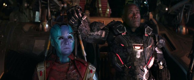 Nebula and War Machine in a scene from Avengers: Endgame