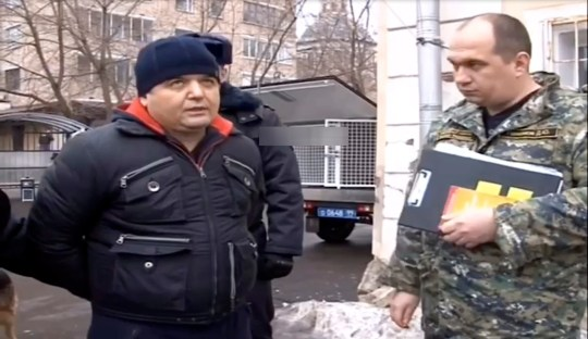 Bakhtiyor Matyakubov gives testimony at the crime scene