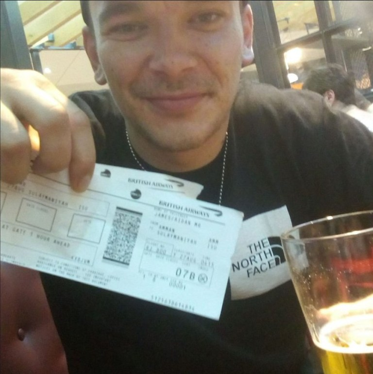 Undated handout photo issued by the Crown Prosecution Service (CPS) of an image posted to Facebook by Aidan James in August 2017 of himself holding airplane tickets. James is accused of helping fuel the violence in Syria by joining Kurdish militants fighting IS. PRESS ASSOCIATION Photo. Issue date: Wednesday April 3, 2019. Aidan James, 28, from Formby, Merseyside, had no previous military knowledge when he allegedly set out to join the bloody war in 2017 on behalf of the Kurdish people. See PA story COURTS James. Photo credit should read: CPS/PA Wire NOTE TO EDITORS: This handout photo may only be used in for editorial reporting purposes for the contemporaneous illustration of events, things or the people in the image or facts mentioned in the caption. Reuse of the picture may require further permission from the copyright holder.