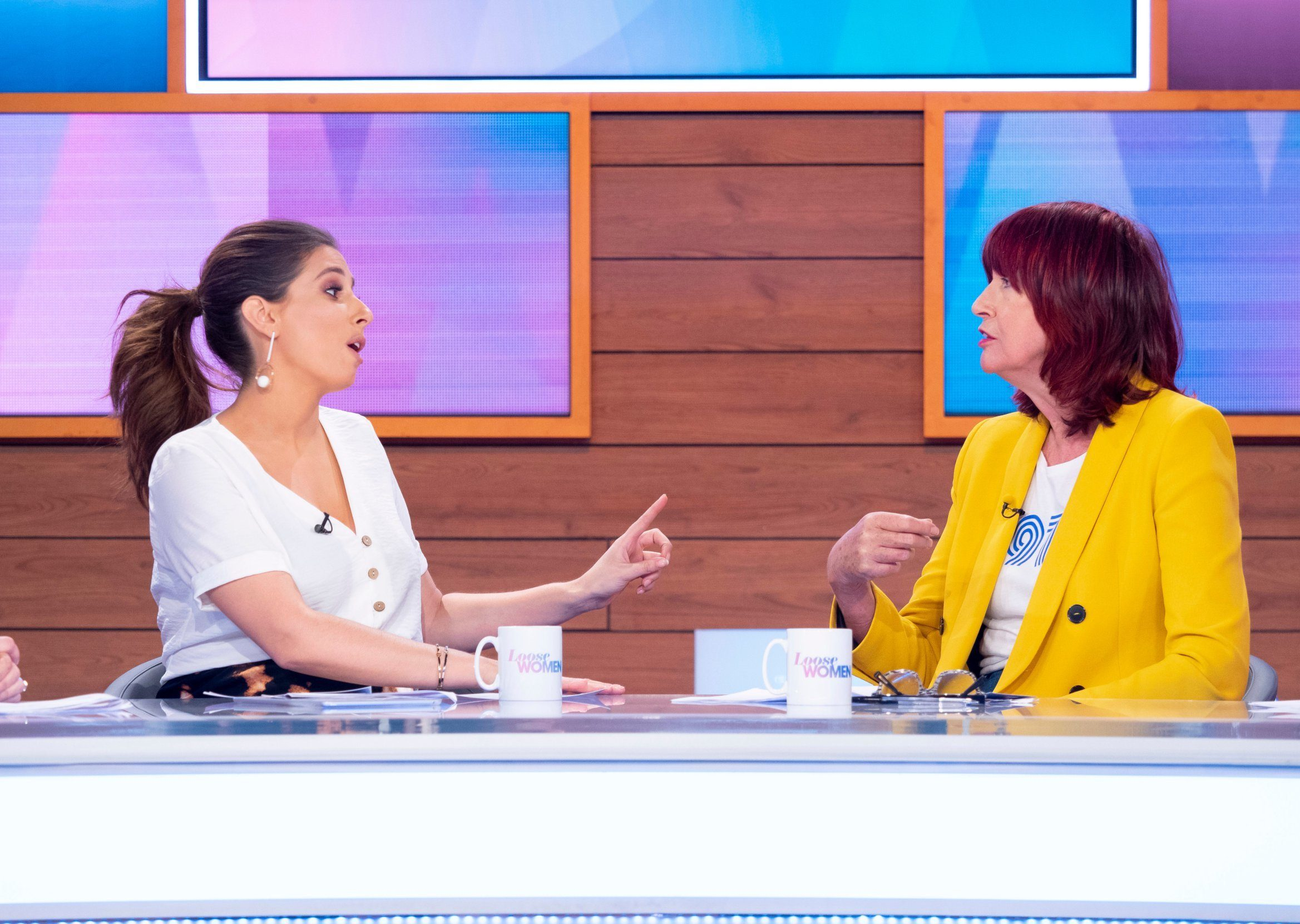 Editorial use only Mandatory Credit: Photo by Ken McKay/ITV/REX (10185635an) Stacey Solomon, Janet Street-Porter 'Loose Women' TV show, London, UK - 03 Apr 2019