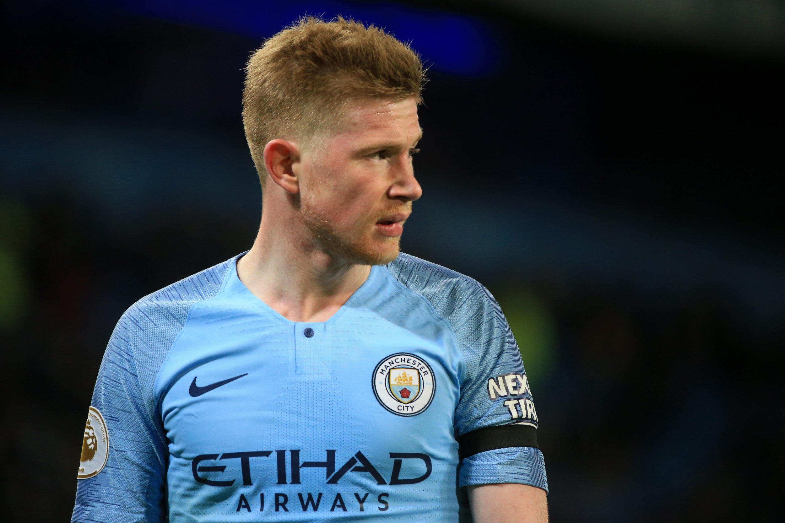 Kevin De Bruyne of Manchester City looks on during the Premier League match between Manchester City and Cardiff City at Etihad Stadium on April 03, 2019 in Manchester, United Kingdom. (Photo by Tom Flathers/Man City via Getty Images)