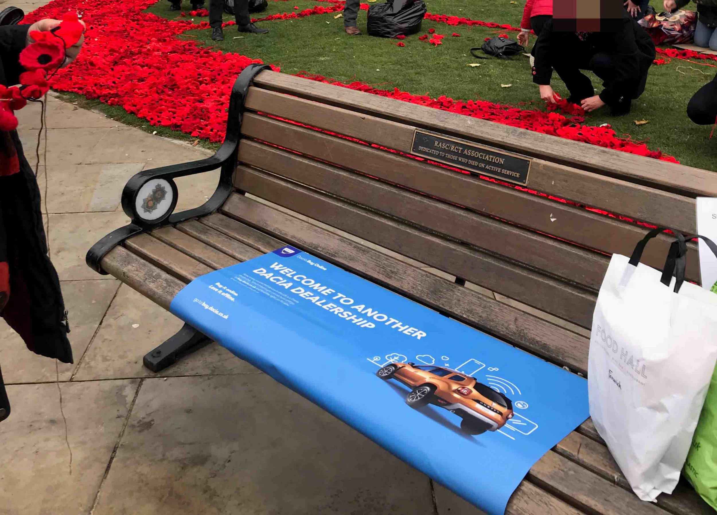 The marketing agency was fined for the blue adverts placed next to a war memorial just days before the 100th anniversary of the end of World War II (Picture: ncjMedia Ltd)